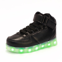 Children shoes 2016 new Boys high - help led lights luminous Shoes Boys Girls USB Charging Sport Casual Led Shoes 3 colour
