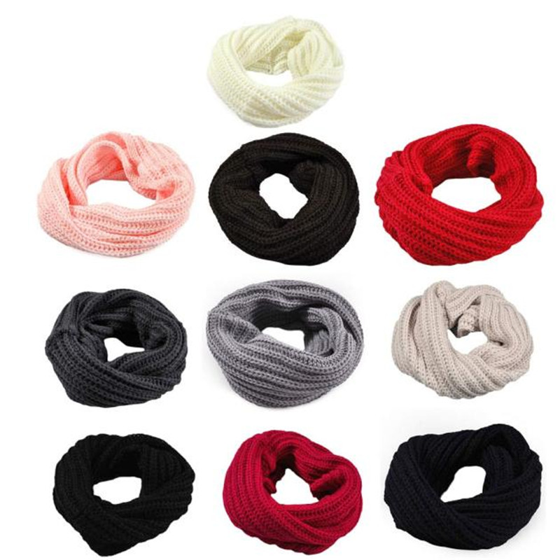 Fashion Women 2019 Winter Warm Knitted Solid Circle Wool Scarf Wrap Collar Black White Red