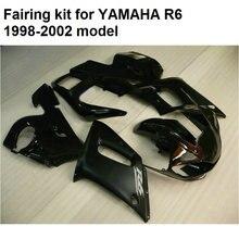 Высокое качество пластик обтекателя комплект для Yamaha YZFR6 98 99 00 01 02 матовый черный мотоцикл обтекатели set YZF R6 1998-2002 YO15