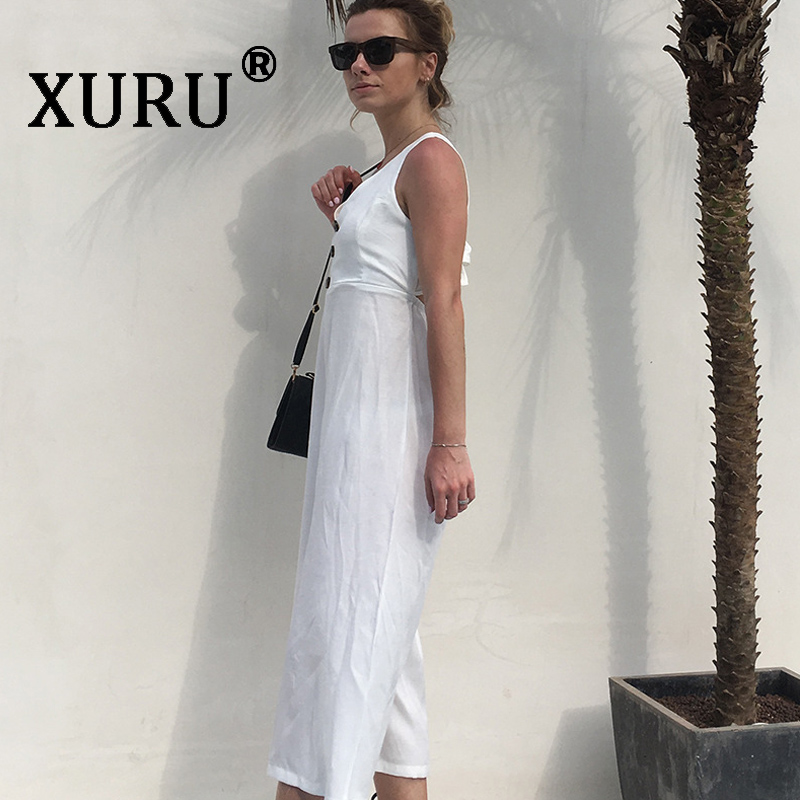 XURU summer new best selling jumpsuit button V neck fashion backless wide leg pants jumpsuit bohemian beach jumpsuit in Jumpsuits from Women 39 s Clothing