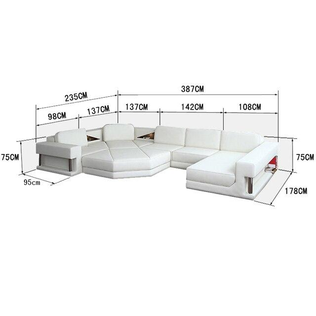 Ukuran Besar Kulit Berbaring Sofa Set