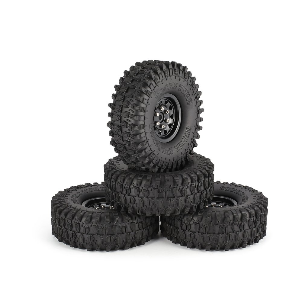 4Pcs 1.9 Inch 120mm Rubber Tires Tire with Metal Wheel Rim Set for 1/10 Traxxas TRX-4 SCX10 RC4 D90 RC Crawler Car Part 4pcs 1 9 rubber tires