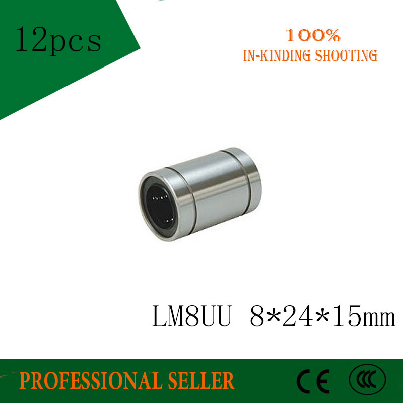12pcs/lot LM8UU LM8 8*24*15mm Ball Bearings 8mm Bushing 3D Printer Parts Rail Linear Long Rod Shaft Part Inter Size 8mm