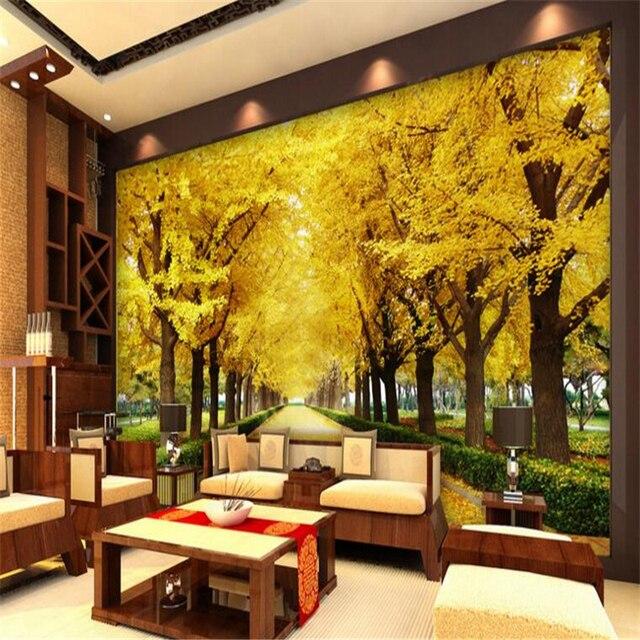 Beibehang Photo Wallpaper 3D Living Room Bedroom Golden Tree TV Gingko Background Wall