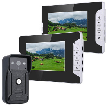 7 Inch Video Door Phone Doorbell Intercom Kit 1-camera 2-monitor Night Vision with 700TVL Camera