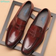 QYFCIOUFU 2019 New mens wedding shoes 100% Genuine Leather Luxury Fashion Casual formal Original Design Mens dress