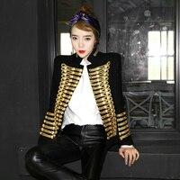 Для женщин полушерстяные двубортный форменная куртка в стиле милитари Пальто Ретро Черное золото C71