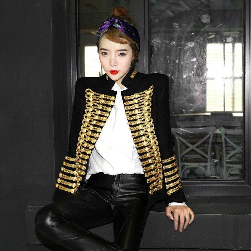 Women Wool Blend Double Breasted Military Uniform Jacket Coats Retro Black Gold C71