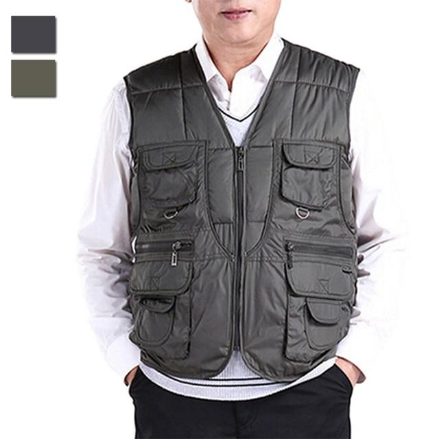Plus talla para hombre otoño invierno abajo chaleco multibolsillos chaleco  chaqueta sin mangas de prendas de c6758524dbbf
