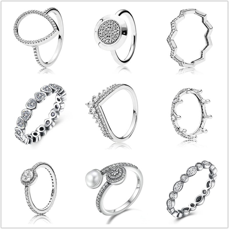 db4994d3bca5 Original 925 anillo de plata esterlina Pave logotipo firma con ...