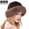 QUEENFUR Women Elegant Caps Real Knitted Mink Fur Hat With Fox Fur Brim 2016 Female Millinery Fedoras Hat For Girls High Quality