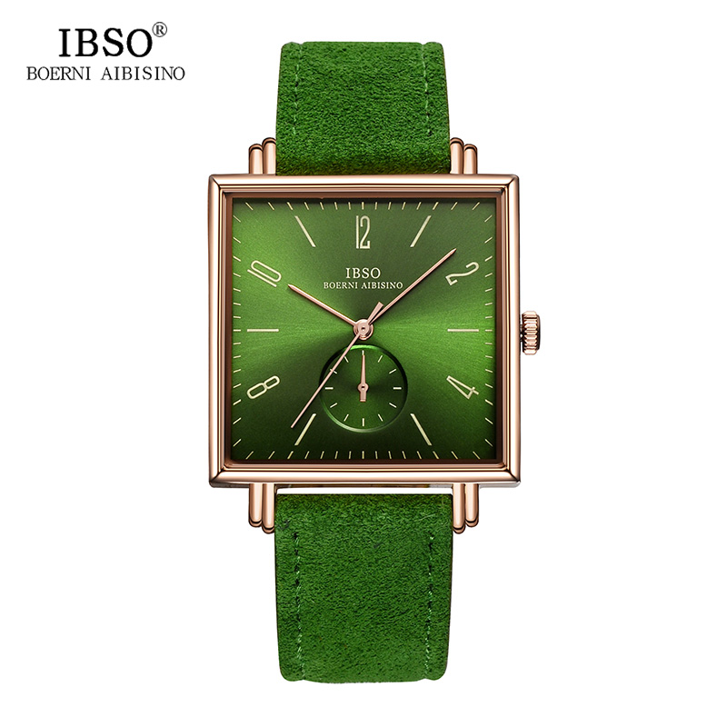 IBSO 8MM Ultra-thin Square Dial Mens Watches 2018 Genuine Leather Strap Fashion Classic Quartz Watch Men Business Male Clock genuine leather quartz men s fashion watches casual ultra thin man wrist watch ibso brand rhinestone waterproof male dress clock page 8