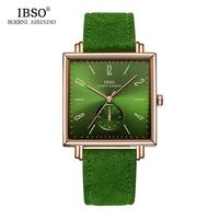 IBSO 8MM Ultra thin Square Dial Mens Watches 2018 Genuine Leather Strap Fashion Classic Quartz Watch Men Business Male Clock