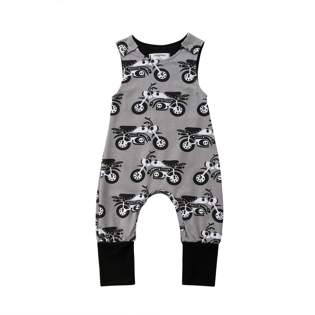 a1b219eb0b8 Baby Boy Kids Newborn Infant Motorcycle Print Romper Sleeveless Jumpsuit  Sunsuit Cotton Clothes Outfits