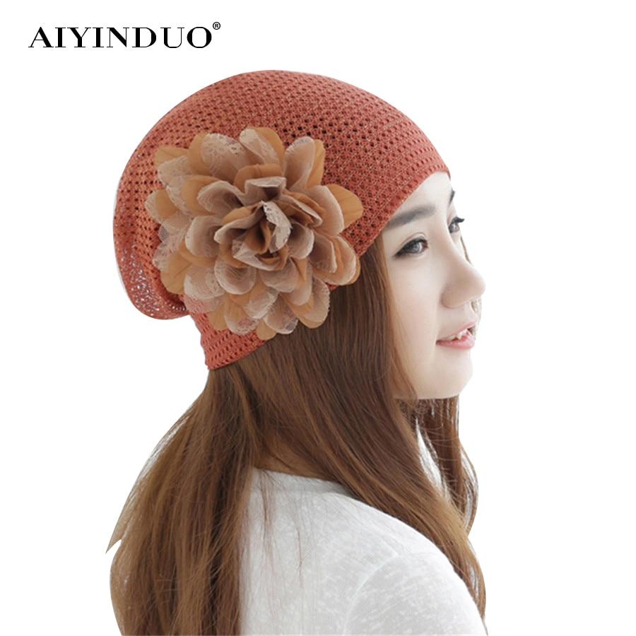 Fashion Women Beanies Cotton Floral Hat Mesh Breathable Baggy Cap Bandana Hair Cover Hats
