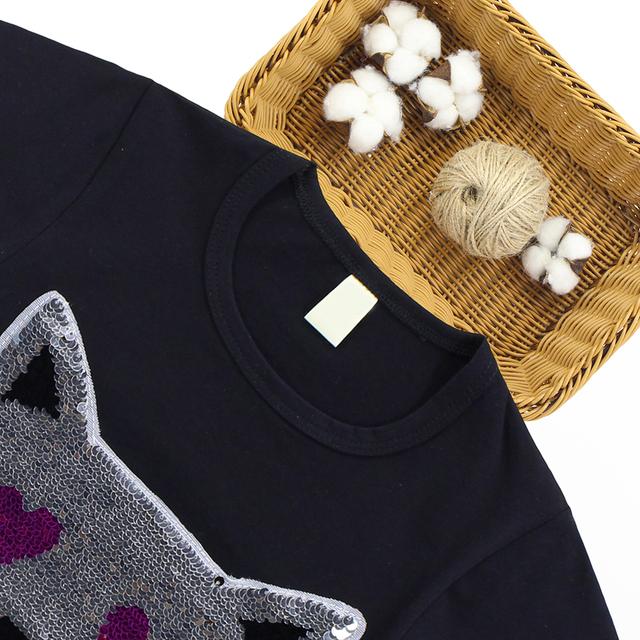 T-Shirt For Girls Changeble Sequins T Shirt Girls Cartoon Kids T Shirt Summer Teen Clothes For Kids Girl 6 8 10 12 13 Year