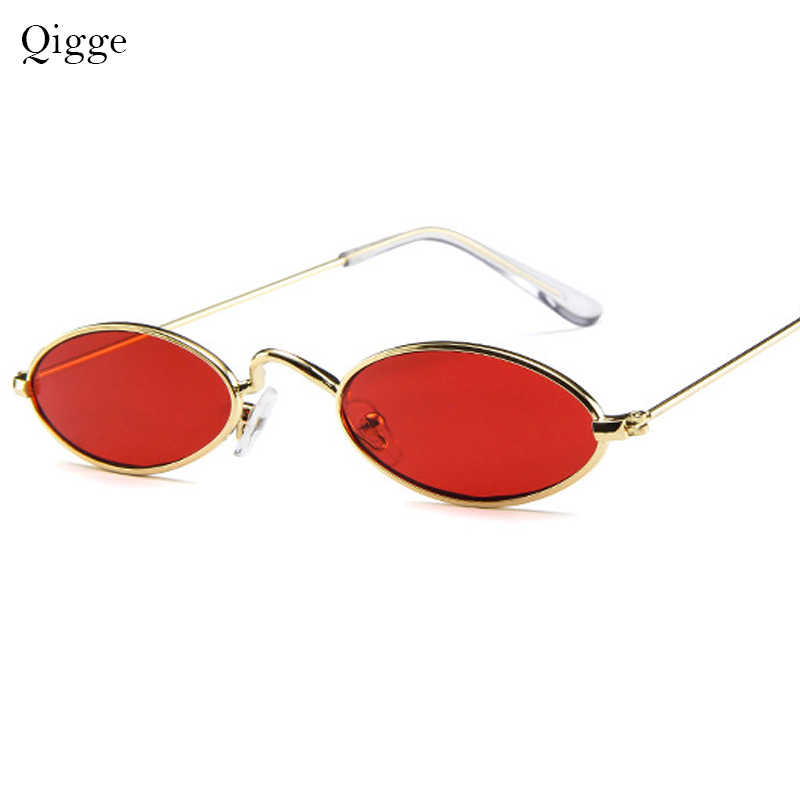 Qigge New Brand Designer Vintage Oval Sunglasses Women Men Retro Metal Frame Eyewear Sun Glasses For Female UV400