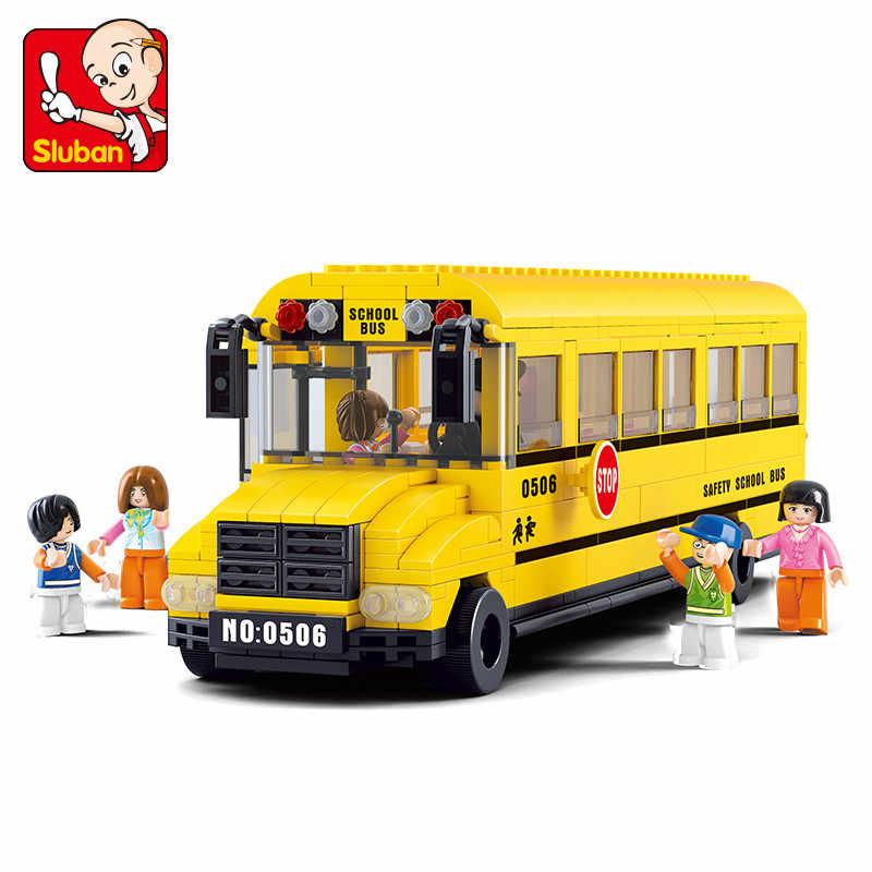382 шт. город большой школьный автобус строительные блоки наборы совместимые LegoINGs DIY Кирпичи Binquedos Playmobil Развивающие игрушки для детей