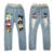 Marca crianças meninos meninas calças jeans primavera outono crianças macias menina dos desenhos animados de algodão do bebê cintura elástica denim jeans para meninos meninas