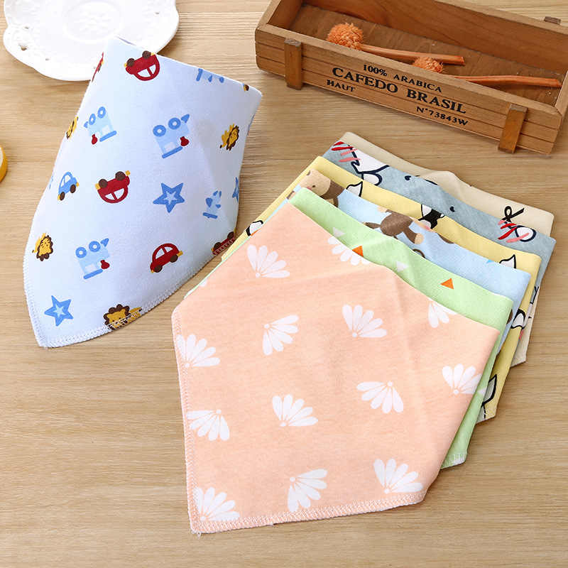 5 Pcs Baby Cotton Bibs Infant Feeding Towel Bibs Newborn Girls Boys Toddler Triangle Scarf Bandana Baby  Accessory Burp Cloth
