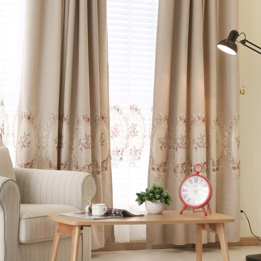 Blackout Curtains Faux Linen Embroidered Luxury Curtain