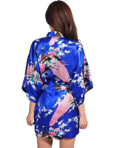 短い着物ローブナイトローブバスローブファッションドレッシングガウン用女性女性のローブ花浴衣