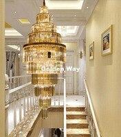 Frete Grátis Modern Luxury Lustres de Cristal de Ouro Villa Penthouse Sala Escada Lâmpada de Cristal Luzes de Iluminação Do Hotel
