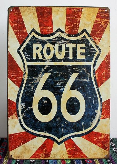 Route 66 Road Usa Vintage Metal Plaques Tin Sign Bar Pub Wall Decor Retro Signs Poster