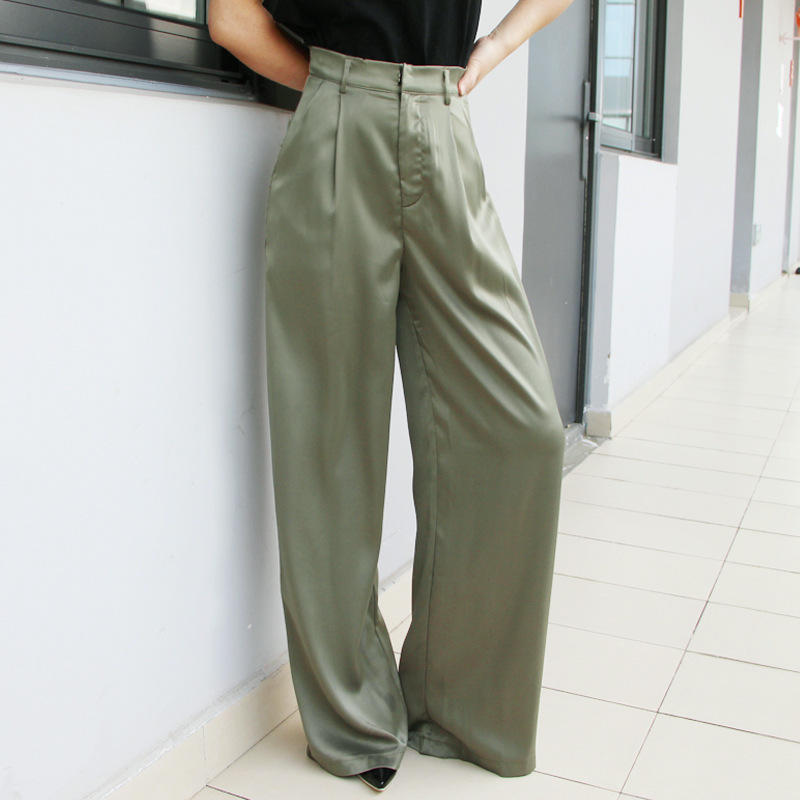 Loose Trousers Pants Wide Spring Fashion Empire Extra Femme Cool Trailing Cakucool Satin Long Capris New Women Pant Leg Casual q8nqxTaPw