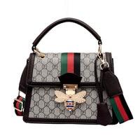 Wide shoulder strap fashion women's PU handbag 2018 trend bee shoulder bags for women simple and generous Messenger bag pink