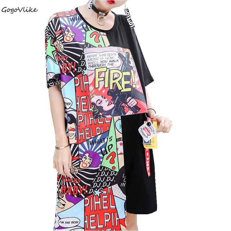 Irregular Tops Graffiti Print Wome punk rock loose t Shirt vintge long short sleeve t shirt hiphop tees LT196S30