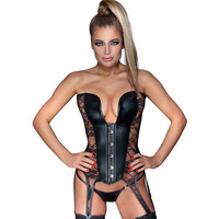 Big Size 6XL Overbust Corset Women Black Faux Leather Gothic Steampunk Sexy Lingerie Lace Transparent See Through Bustier Corset