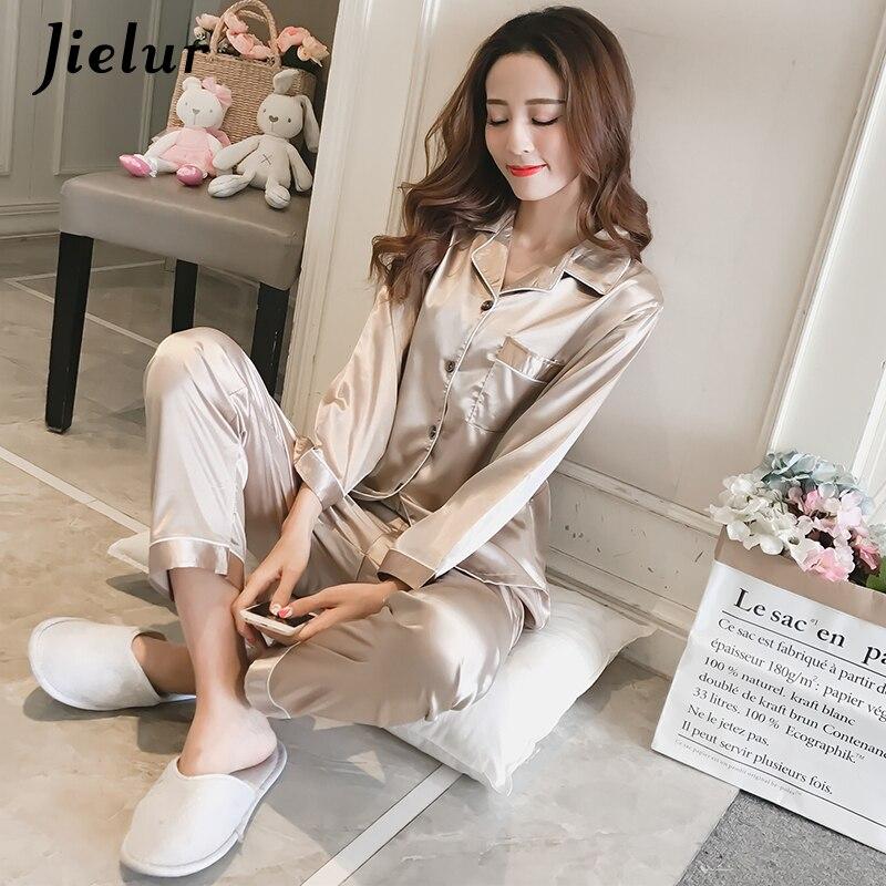 Jielur Autumn Lady Long Sleeve Shirt+Pants Solid Color Casual Home suit Silk Satin Women Pajama Sets Breathable Pijama Feminino