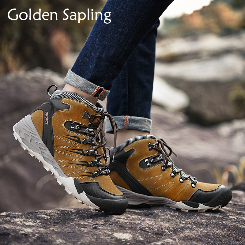 Golden Sapling Outdoor Shoes Men Breathable Leather Tactical Boots Mens Hiking Shoes Mountain Trekking Boot Hunting Sneakers Man naturalhome men water resistant boots sports hiking shoes outdoor athletic shoes mountain boots for hunting travel shoes boot
