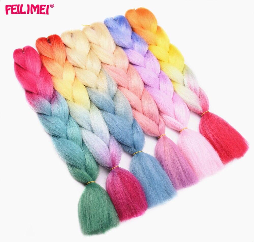 Feilimei Ombre Blonde Jumbo Braiding Hair Extensions Synthetic Heat Resistant Hair Purple Gray Blue Crochet Braids Hair Bundles
