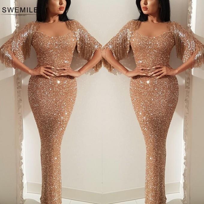 Elegant Tassel Sleeve Long Prom Dresses 2019 Sexy Sparkly Mermaid Prom Gowns Sweetheart Formal Party Dresses Vestidos De Gala