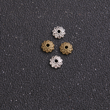 18pcs 8*8mm Two Color Craft Metal Beads Caps Tassel End Caps DIY Jewelry Charm Receptacle Accessories image