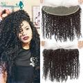 Brazilian Kinky Curly Hair Lace Frontal Closure 13x4 Baby Hair Bleached Knots Brazilian Virgin Hair Kinky Curly Lace Frontal