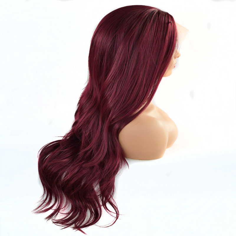 Bombshell Mix Dark Wine Red Natural Wave Synthetic Lace Front Wigs Heat Resistant Fiber Natural Hairline