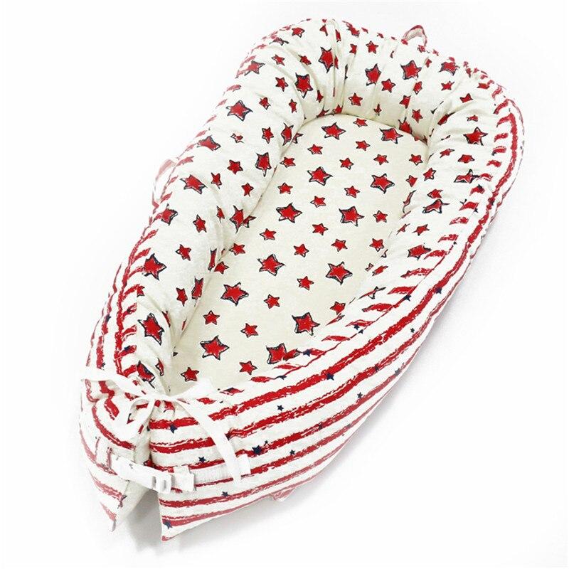 80*50 см детское гнездо кровать портативная кроватка дорожная кровать Младенческая Детская Хлопковая Колыбель для новорожденного Детская кровать люлька бампер - Цвет: BabyNest-C7