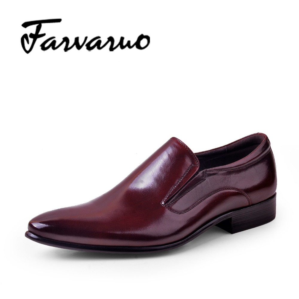 Farvarwo Loafers Mens Casual Business Shoes Moccasins Formal Pointed Toe Genuine Leather Adult Men Dress Shoe Black Oxford Brand