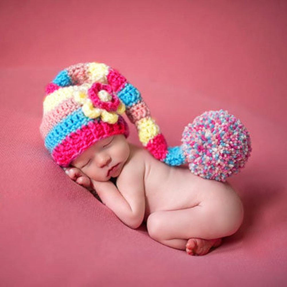 Newborn Photography Props Infant Costume Photo Pro Red Hat Baby Girls Boys Crochet Knit Costume Photography