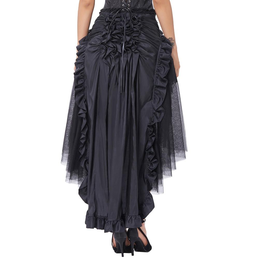 e988b4eb9 Aliexpress.com: Comprar Belle poque negro Faldas Womens ruffled largo  abierto falda Steampunk retro falda asimétrica para bailar 2017 verano  falda ...