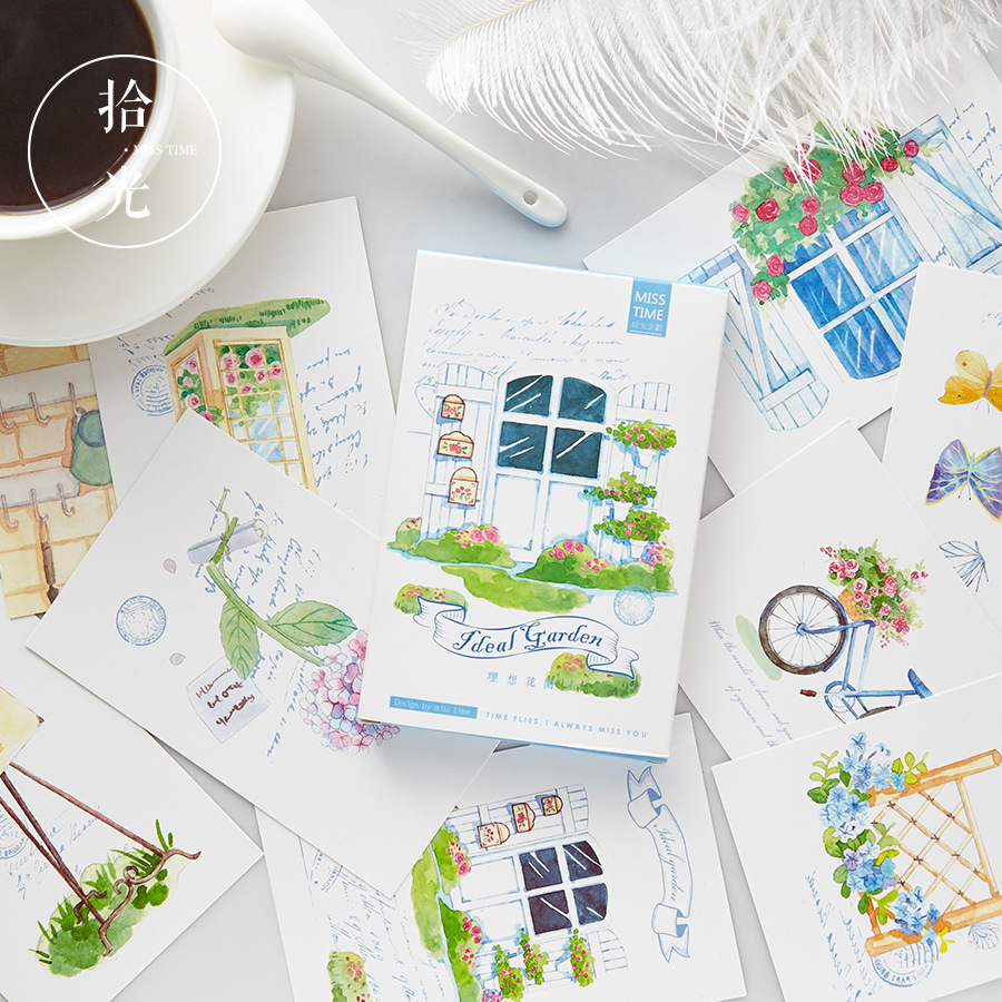 30 Pcs/Set Wonderful Ideal Garden Postcard/Greeting Card/Message Card/Birthday Letter Envelope Gift Card