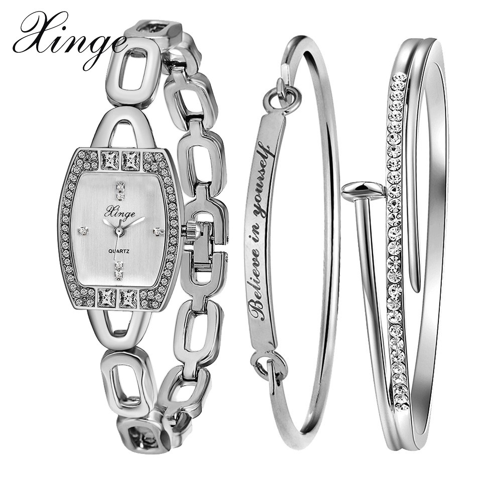 Xinge Brand Watch Women Bracelet Bangles Gold Plated Jewelry Watch Set Wristwatch Waterproof Quartzwatch Obsidian Gift Women xinge brand watch women bracelet rhinestone chain bangles jewelry watch set wristwatch waterproof ladies gold quartz watch