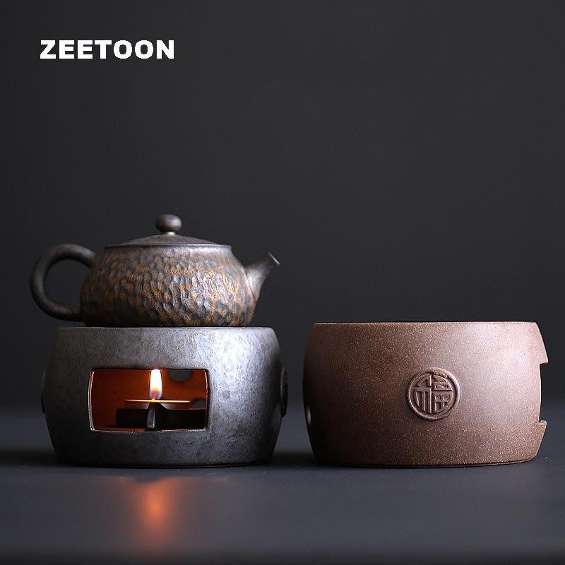 Vintage céramique poterie grossière chaud thé poêle bougie chauffage café lait thé chauffage accessoires théière support Base