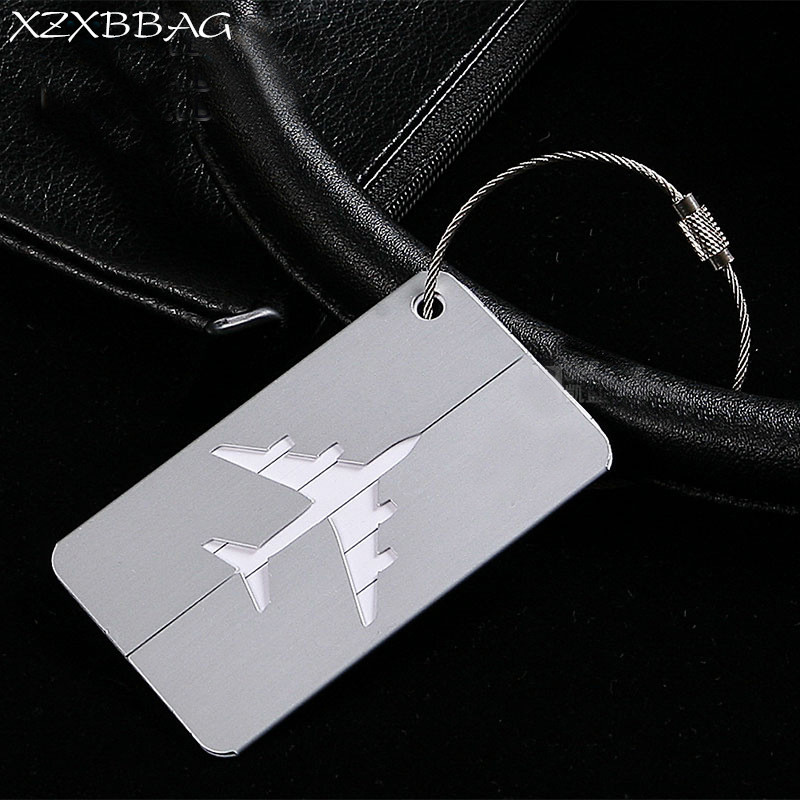 XZXBBAG 5PC Aluminum Alloy Luggage Tag Rectangle Airplane Checking Baggage Name Label Suitcase Address Holder Travel Accessories