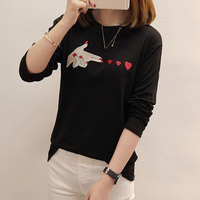 DoreenBow New Design Fashion Embroidery Heart Blouse Tops Women Spring Autumn Style Long Sleeve O Neck