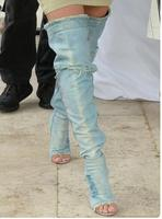 Hot selling light blue cut outs thigh high boots open toe high heel sandal boots runway over the knee boots gladiator boots