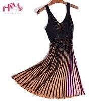 Autumn Panelled V Neck Spaghetti Strap Pleated Dress Vertical Stripe Long Knitting Female Dress Summer A